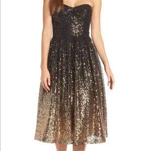 Eliza J Strapless Midi Gold Sequin Dress